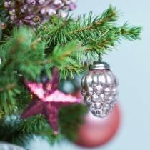 Mini julgranpynt blandar 4,5 cm silver, rosa diverse 10st