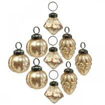 Mini glaskulablandning, diamant / kula / kon, trädekorationer, antikt utseende Ø3–3,5cm H4,5–5,5cm 9st