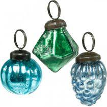 Mini glaskulablandning, diamant / boll / kon, julgransdekorationer antikt utseende Ø3–3,5cm H4,5–5,5cm 9st