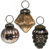 Mini julkulor, diamant / kula / kon, glashängen blandar antik look Ø3–3,5cm H4,5–5,5cm 9st