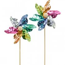 Mini-pinwheel, festdekoration, väderkvarn på stången färgglad, dekoration för trädgården, blomplugg Ø8,5cm 12st