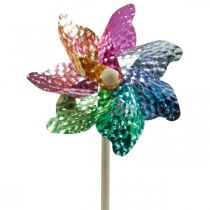 Väderkvarn, sommardekoration, pinwheel on the rod coloured, dekoration för barns födelsedagsfest Ø16cm 4st