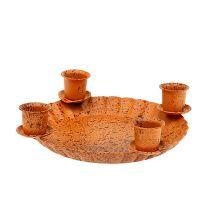 Mini skål med 4 ljusstake för ljus Ø10cm brun