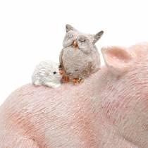 Dekorativ figuruppsättning piggy med djurvänner 9.3cm × 7.5 / 8.5cm 2st