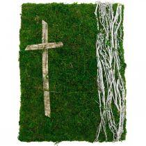 Mossbilds vinstockar och kors för gravuppläggning grön, vit 40 × 30cm