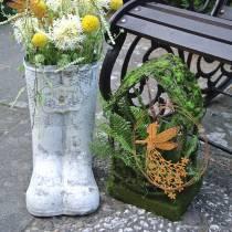 Hus för mossgarneringgräs med konstgjord mossa och ormbunke