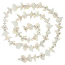Skal krans med pärlor vit 100 cm