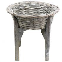 Korgskål med träställgrå, vittvätt Ø40cm