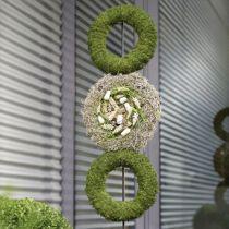 Blommig ringring kransgrå H3cm Ø20cm 6st
