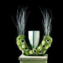 Blomskum urnor halvring H29cm Ø47cm 1pc sorgsmycken