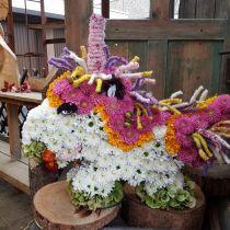 Blomskum enhörning 68 cm x 60 cm