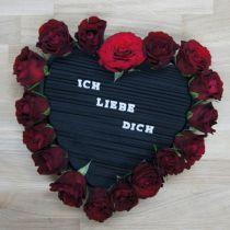 Blommor skum hjärta svart 38cm 2st