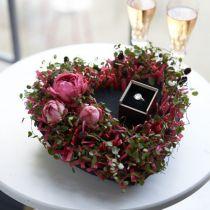 Blommor skum hjärta svart 25,5 cm 2st