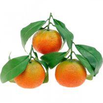 Dekorativa frukter, apelsiner med löv, konstgjorda frukter H9cm Ø6,5cm 4st