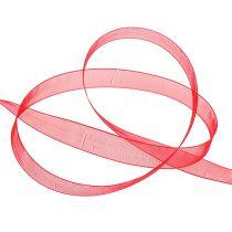 Organza band med selvedge 1,5 cm 50m röd
