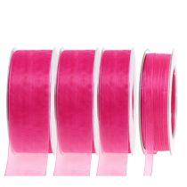 Organza band med selvedge 50m rosa
