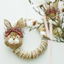 Påsk dekoration kaninhuvud för hängande halm H32cm