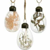 Påskägg med torkade blommor, dekorativa ägg äkta glas, blommiga påskdekorationer att hänga, glasägg 8st