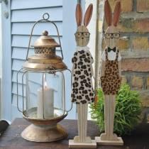 Påskhare, leopardhud och träglasögon Har påskdekoration, uppsättning 2
