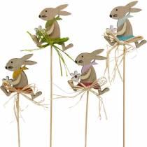 Påskhare med blomma, kanindekoration till påsk, kanin på en pinne, vår, trädekorationsblommaplugg 12st