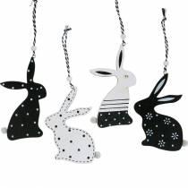 Påskharen att hänga svartvitt trädekoration kanin påskdekoration 12st