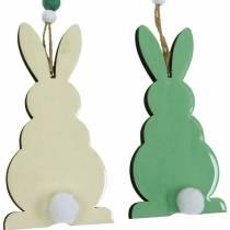 Påskkaniner att hänga, vårdekorationer, hängen, dekorativa kaniner gröna, vita 3st