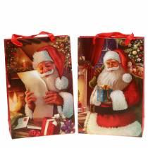 Presentpåsar set julmotiv Santa röd 20cm × 30cm × 8cm