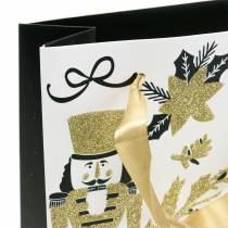 "Presentpåse papperspåse ""Merry Christmas"" guldglitter H30cm 2st"