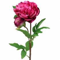 Pion konstgjord blomma med blomma och lila magenta 68 cm