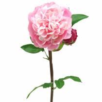 Pion konstgjord blomma med blomma och knopprosa 68cm