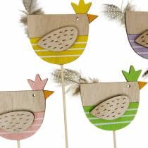 Växtpropp kyckling färgglad dekorationsplugg trähöna påskdekoration 14st