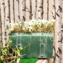 Planterpåse med handtag metallgrön, vit tvättad H20cm