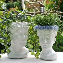 Växthuvud byst kvinna vit keramisk vas blomkruka H22.5cm