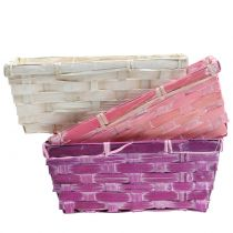 Chipkorg fyrkantig lila / vit / rosa 8st