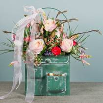 Planterväska med handtag metallgrön, vittvättad H30cm
