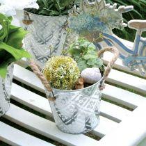Växtkruka med handtag, dekorativ skål med blommönster, metallkärl Ø14,5cm