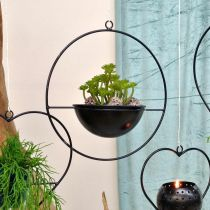 Växtkruka för hängande svartmetallring Ø38cm med skål Ø15cm