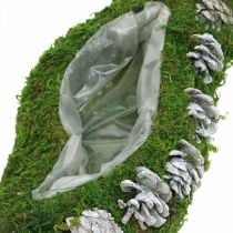 Plantera mossa och kottar vinka grönt, tvättat vitt 41 × 15cm
