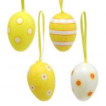 Plast ägghängare gul 6 cm 12st