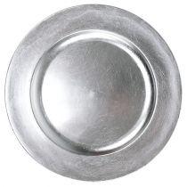 Plastplatta 25 cm silver med silverbladeffekt