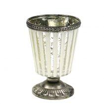 Tealight glas kopp bonde silver H11cm