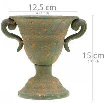 Metallamfora, växtkopp, bägare med handtag Ø12,5cm H15cm