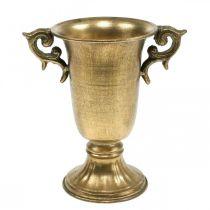 Dekorativ kopp med handtag gyllene Ø11cm H17.8cm antikt utseende