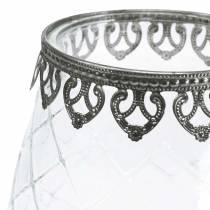 Dekorativt glasskål med metallbotten Ø16cm H23.5cm