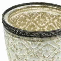 Tealight glasskopbönder silverblommig Ø9cm H13.5cm