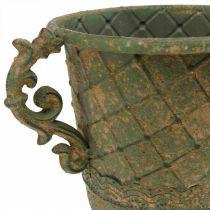 Kopp för plantering, kalk med handtag, metallkärl antikt utseende Ø15,5cm H23,5cm