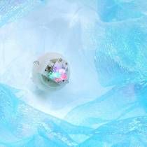 Dekorativa maneter att hänga skimrande blått med LED-ljus Ø26 H65cm