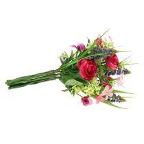 Ranunculus bukett med druvhyacinter rosa 25cm