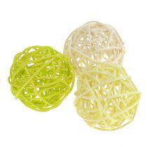Rottingbollmix Ø5cm ljusgrön blekgrön blekt 30st.