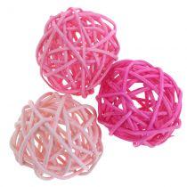 Rottingbollar rosa blandade Ø4cm 24st